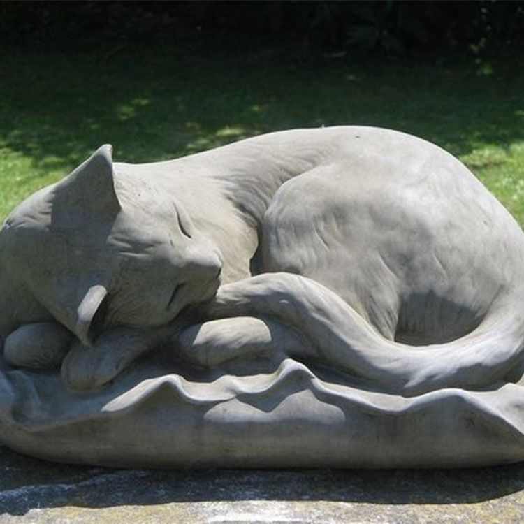 sleeping cat statue for the garden
