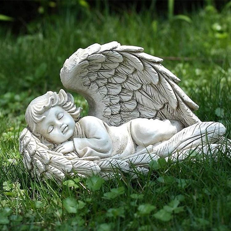 sleeping baby wrapped in angel wings statue for sale