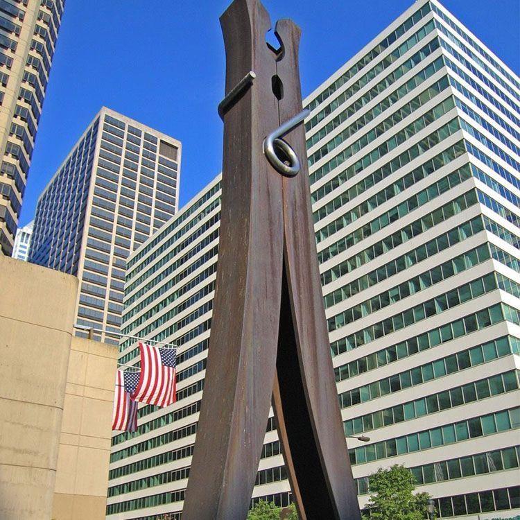 outdoor giant clothespin sculpture garden decor