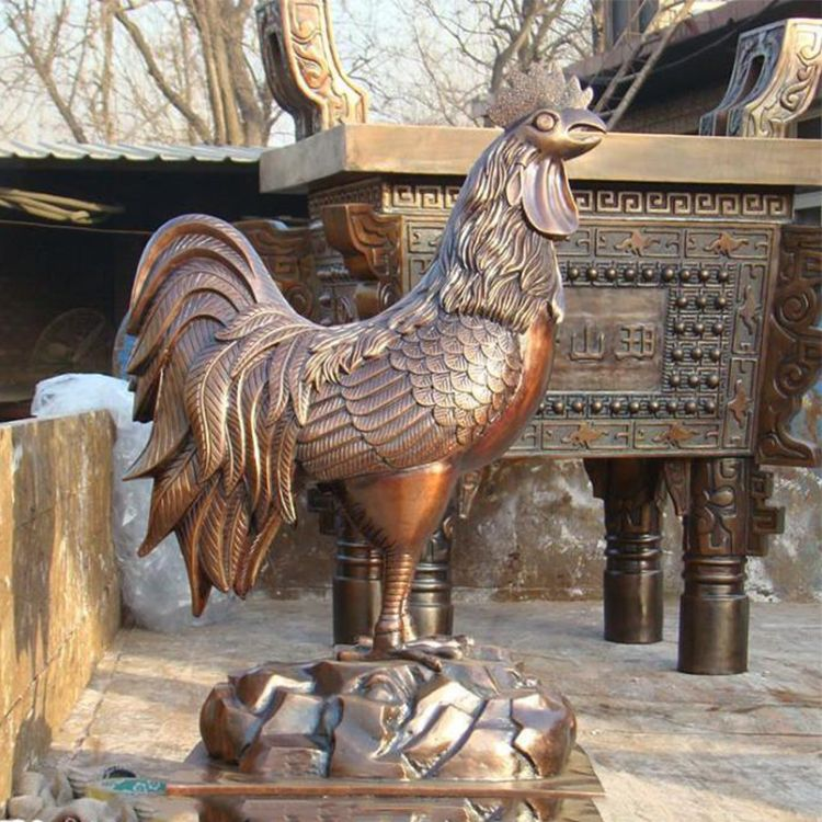 metal rooster yard decor statue