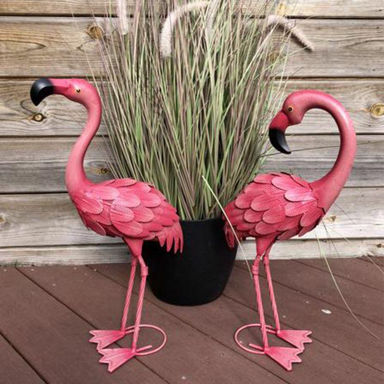 large metal pink garden flamingo yard art  statue