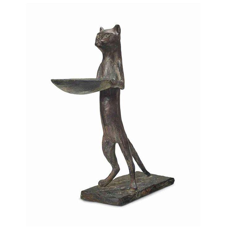 Bronze standing cat butler statue