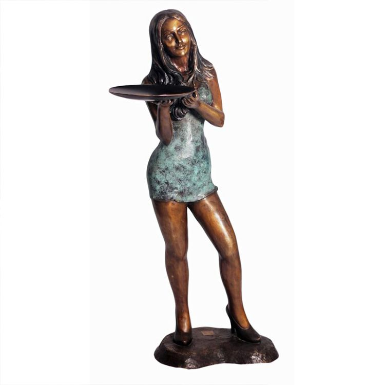 life size lady statue holding tray for sale