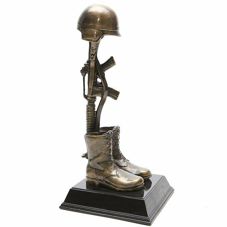 Outdoor military fallen soldier battle cross statue for sale