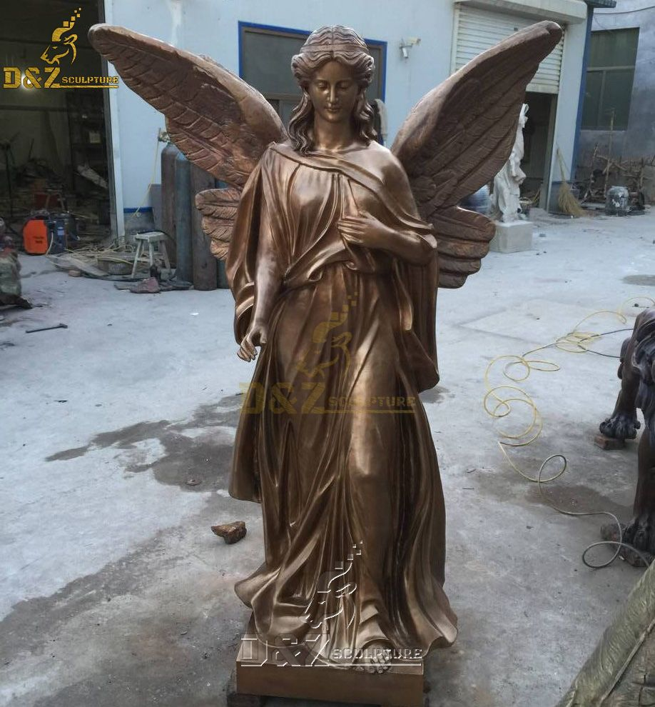 Bronze female guardian angel outdoor garden statue