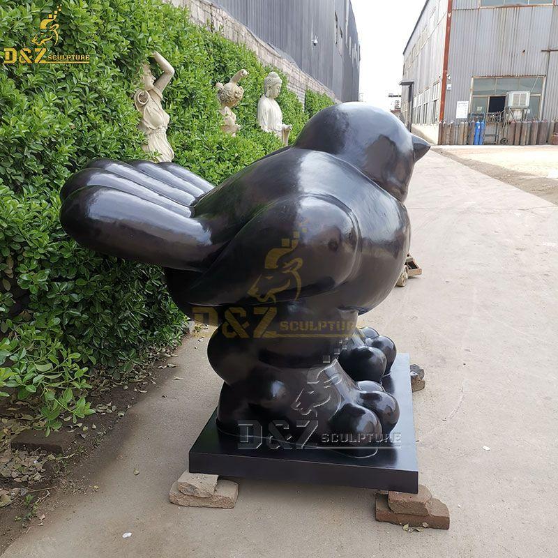 Outdoor Botero metal fat bird sculptures for the garden