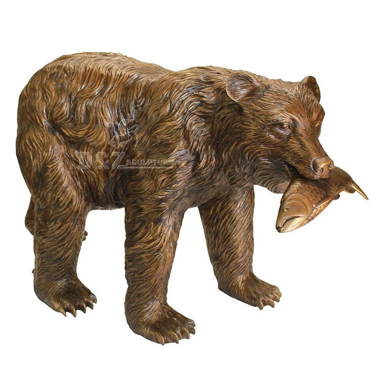 Outdoor bear with fish in mouth garden statue