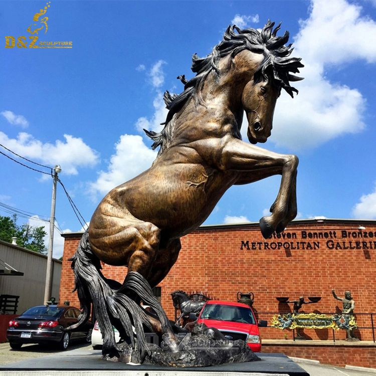 large bronze horse rearing up garden statue for sale