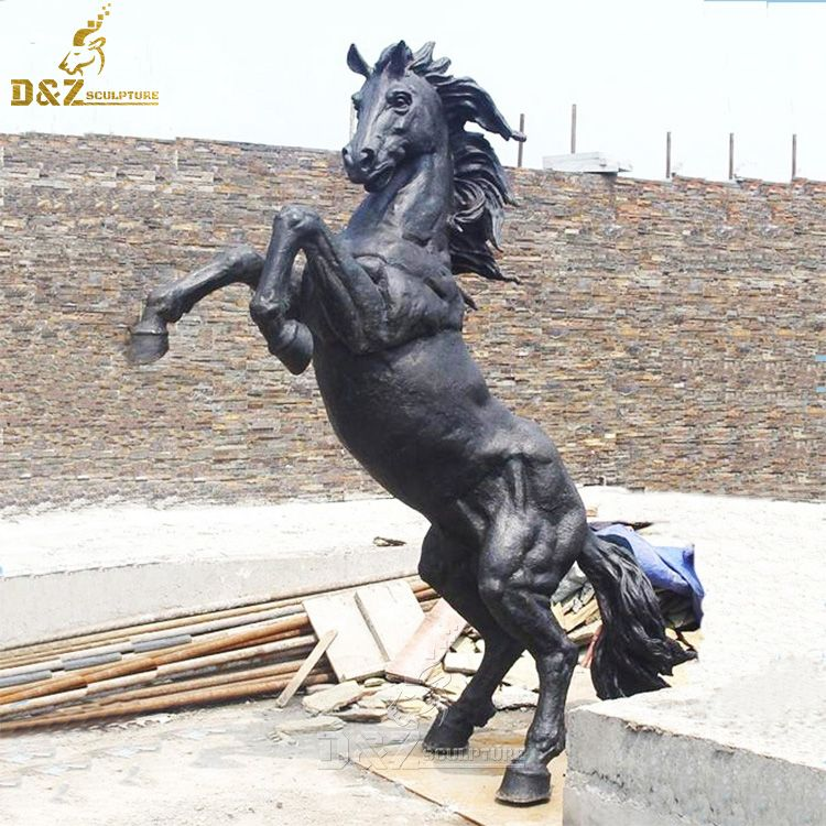 jumping howling horse statue