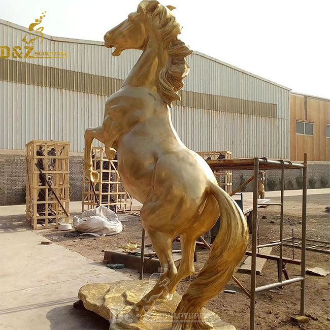 Antique vintage large brass rearing horse statue for sale