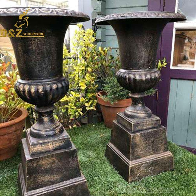 Large outdoor antique cast iron garden planter urn for sale