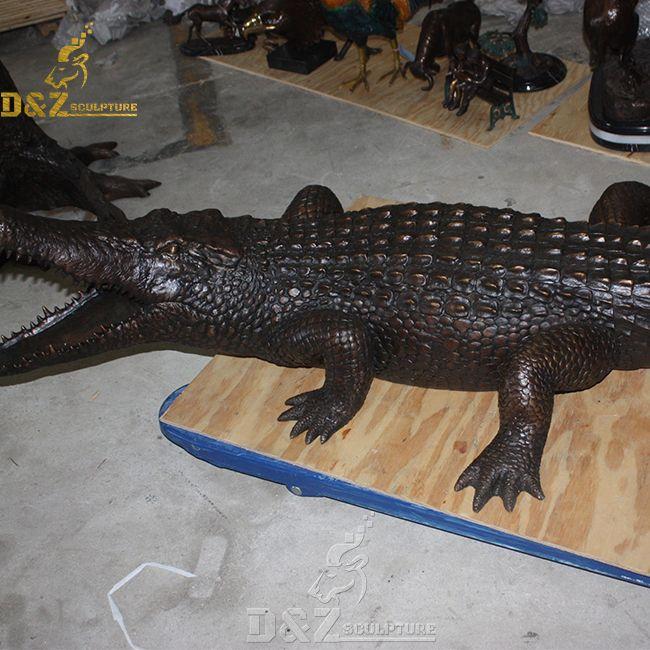 life size bronze alligator sculpture for sale