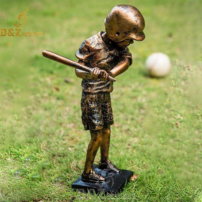 little boy baseball player garden statue