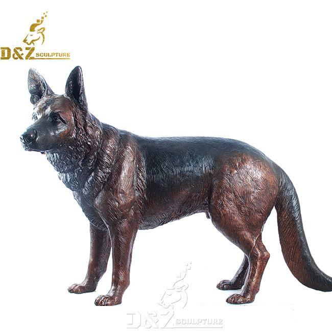 life size outdoor bronze german shepherd garden statue