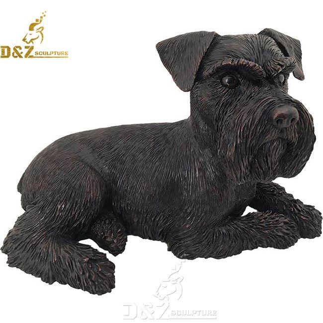 life size black bronze schnauzer garden statue