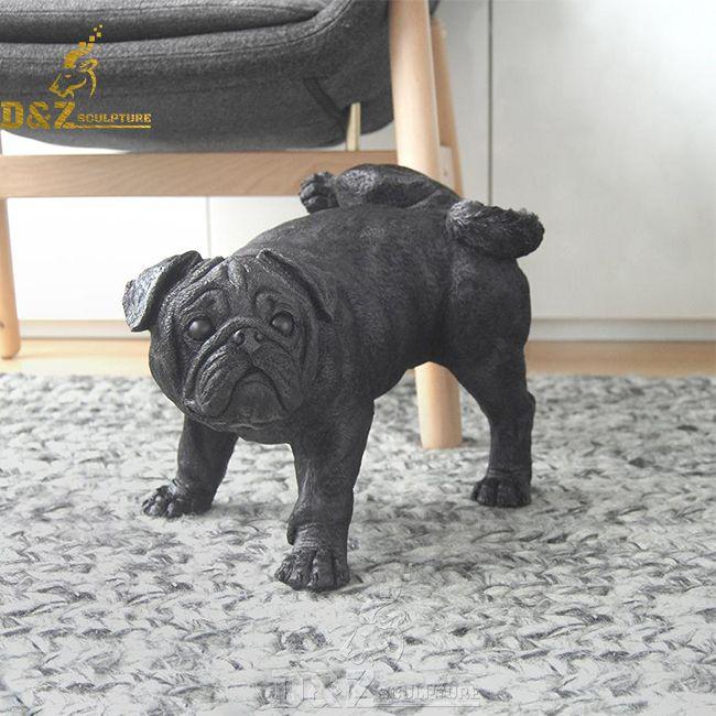 life size bronze peeing pug dog statue