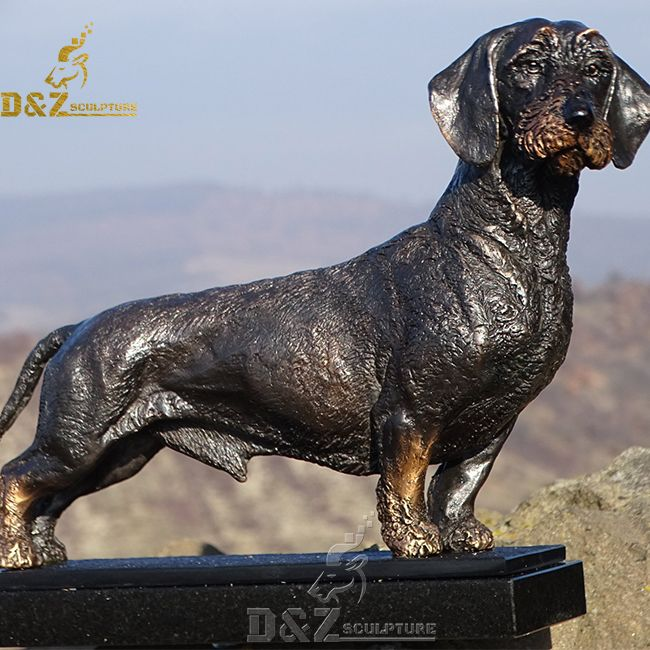 life size long haired dachshund outdoor garden statue