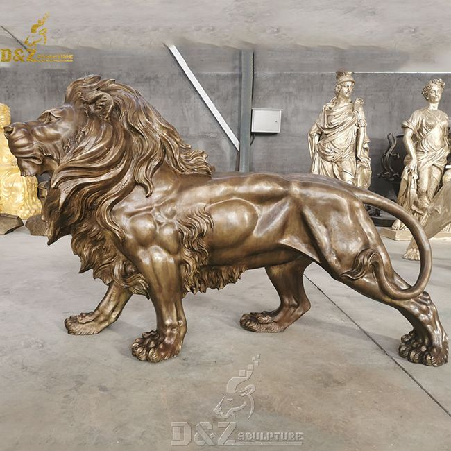 large bronze standing lion statue home decor for sale
