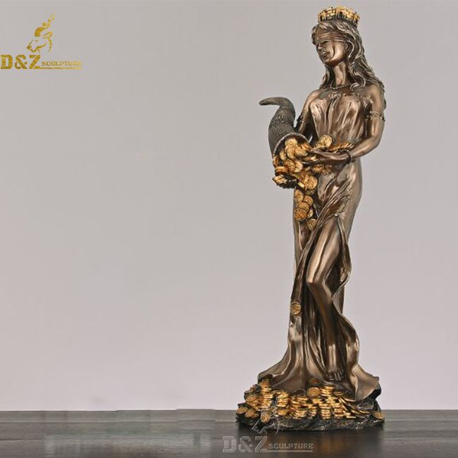 Blindfolded tyche lady fortuna roman goddess of luck statue
