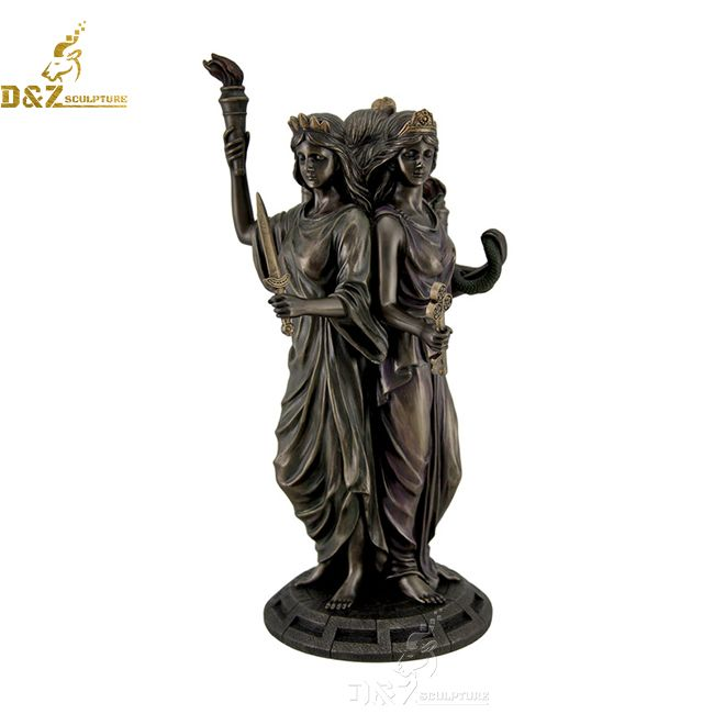 bronze triple hecate goddess statue for sale