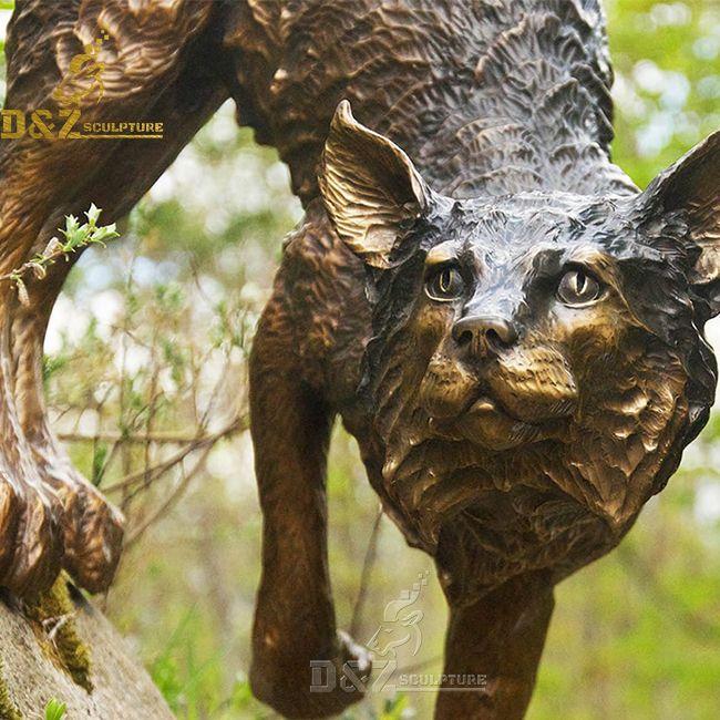 Bronze outdoor standing fox garden statue