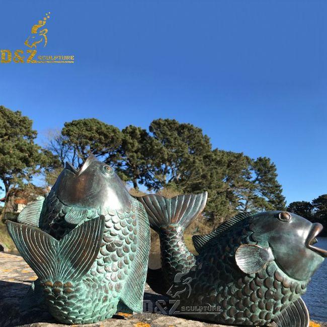 outdoor bronze koi fish garden statue