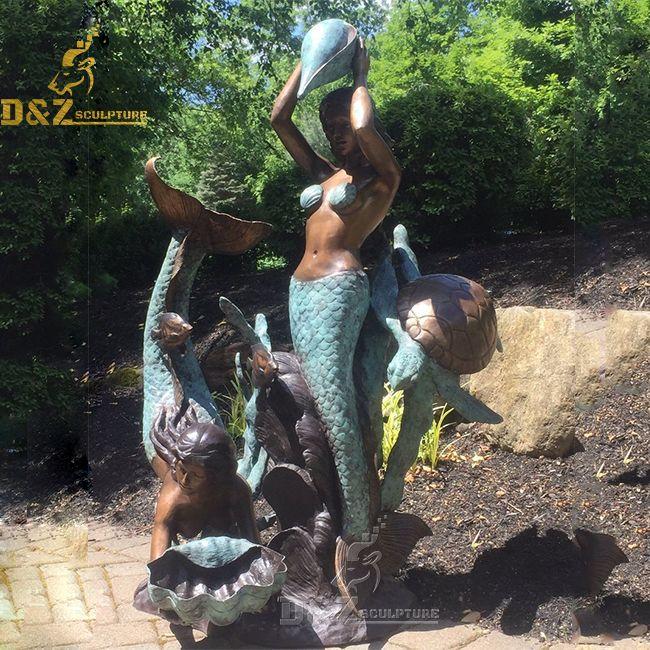 large outdoor mermaid garden pool water fountain