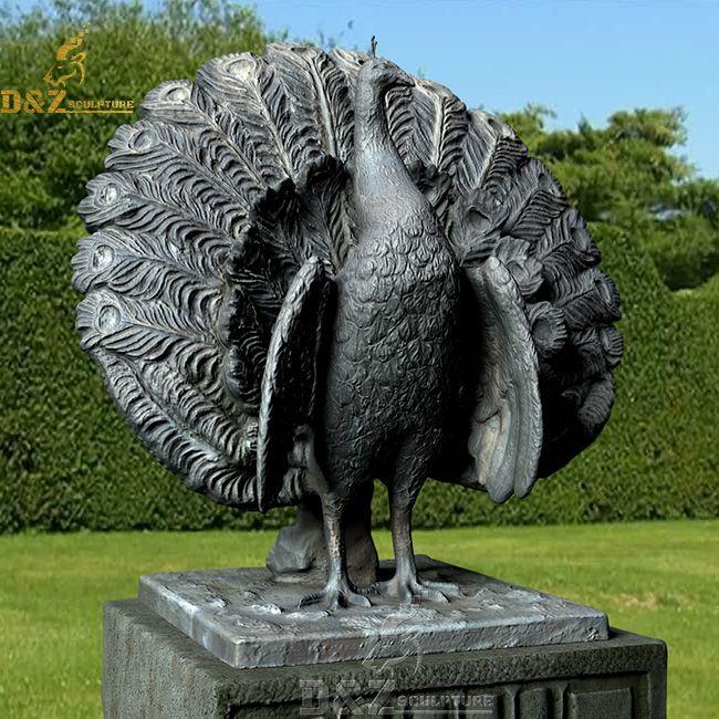 outdoor large bronze peacock garden statue