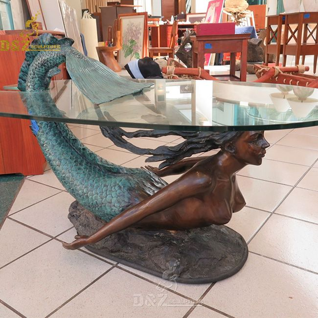 bronze mermaid coffee end table with glass top