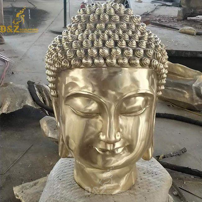 large gold meditating buddha head statue decor
