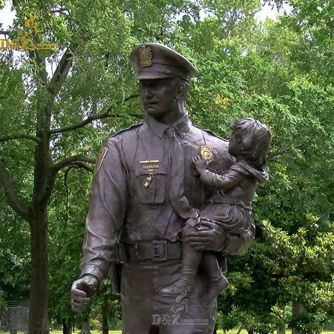 Bronze police officer memorial garden statue