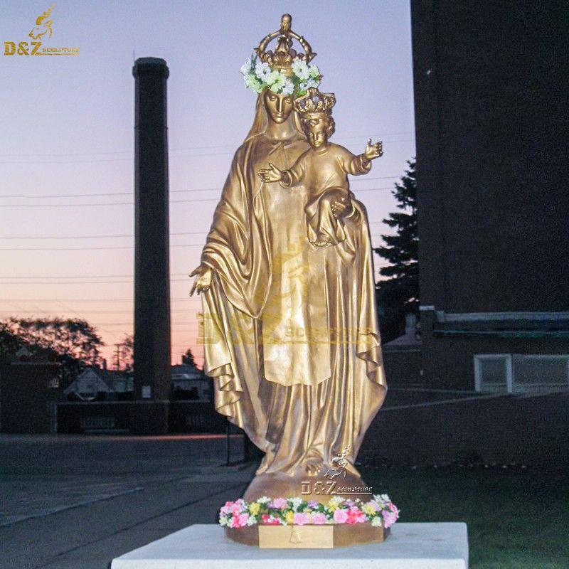 bronze madonna and child statue