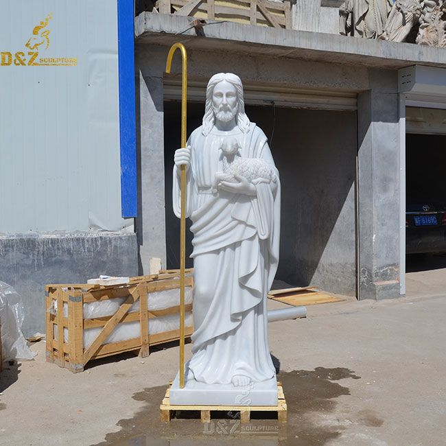 Jesus christ as the good shepherd statue