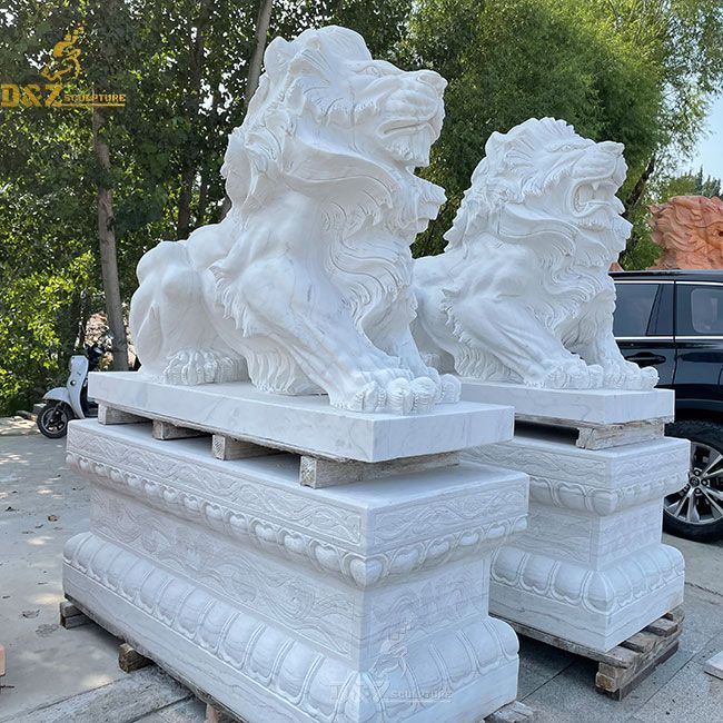 Outdoor sitting white marble lion statue pair