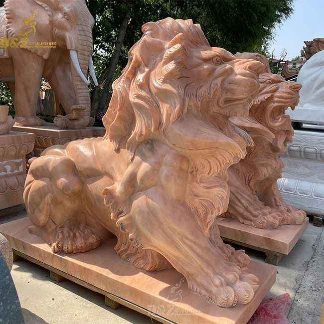 large cloudy rosa marble lion statue home decor in front of house