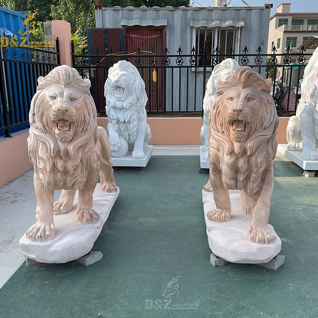 life size roaring marble lion garden statues