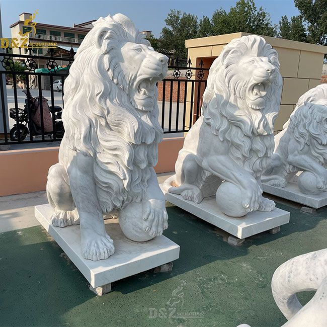 outdoor large white roaring lion with ball statue pair for sale