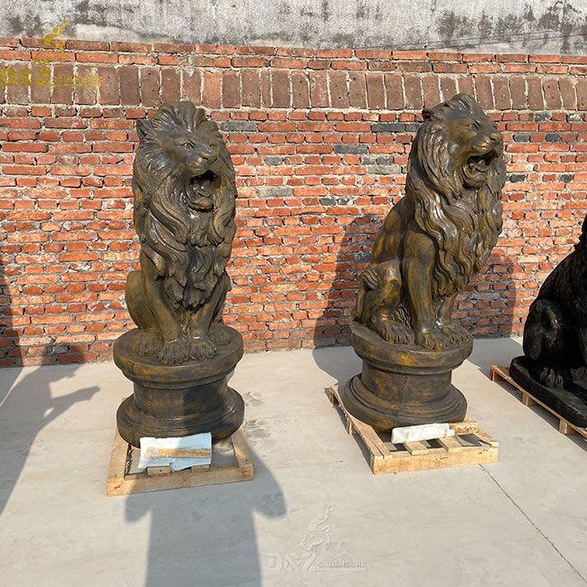 Antique sitting marble lion statue for sale