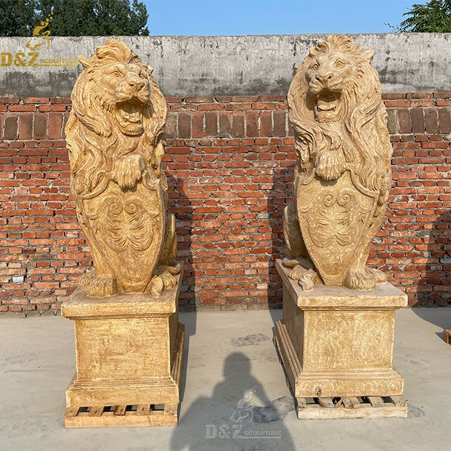 Antique sitting lion with shield marble statue