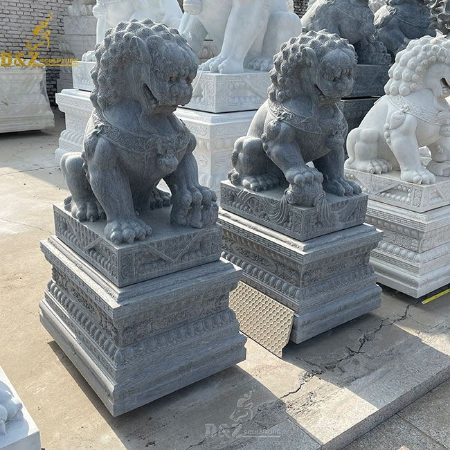Black marble Chinese guardian lion dog statues for sale