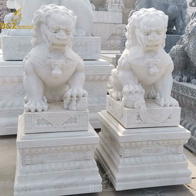 White marble shishi guardian lion statue for sale
