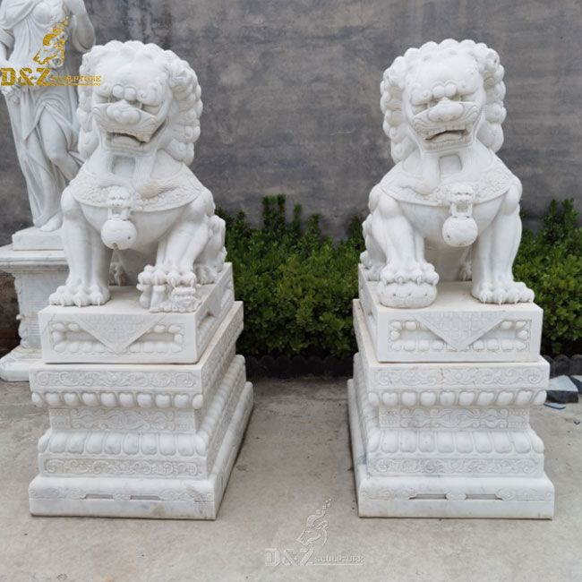 White marble foo dog statue pair outdoor for sale