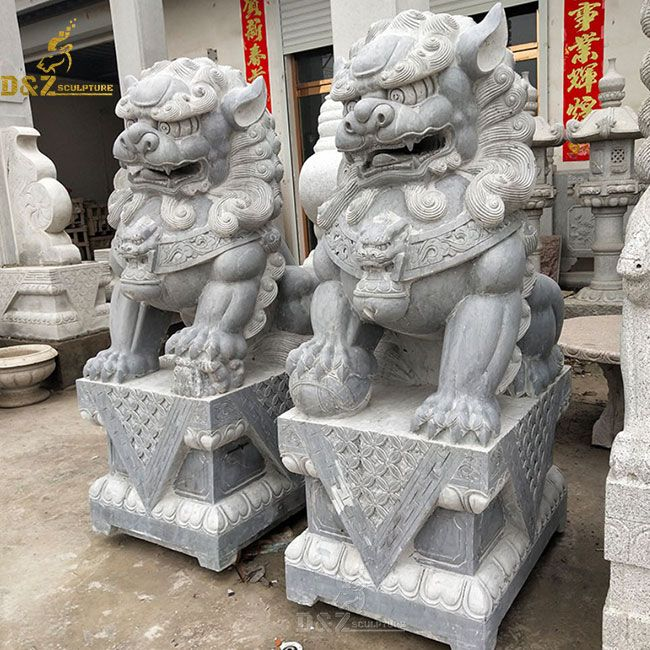 stone outdoor asian lion dog statue pair