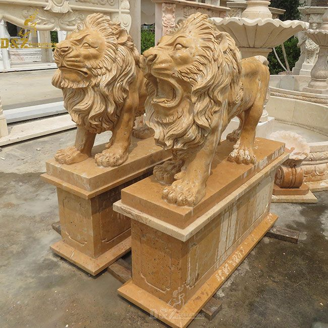 Outdoor life szie standing lion statues pair for front porch