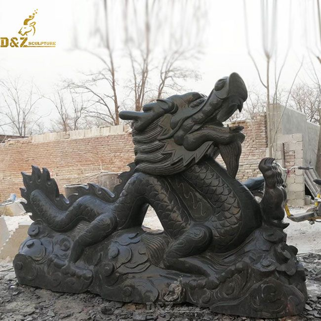 large black outdoor stone chinese dragon garden statue for sale