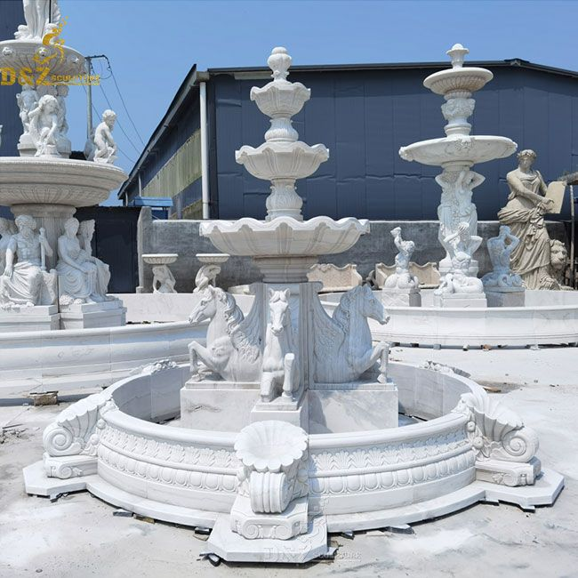 3 tier stone water fountain with horse for sale