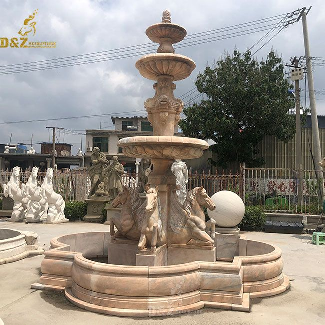 Outdoor 3 tier water fountain with pegasus horse