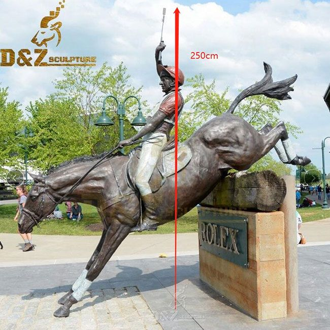 Large bronze horse racing statue for sale
