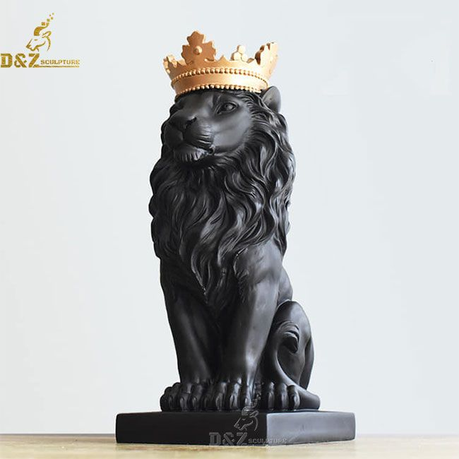 Black Lion Statue with Gold Crown for sale