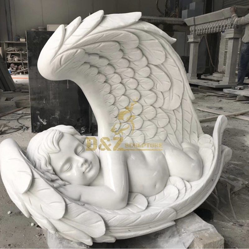 Sleeping baby in angel wings garden memorial statue